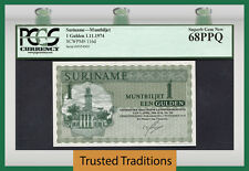 TT PK 116d 1974 SURINAME 1 GULDEN PCGS 68 PPQ SUPERB GEM NEW NONE FINER!