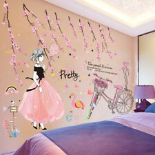 Cartoon Girl Peach Flowers Bicycle Wall Stickers PVC Material DIY Wall Decal