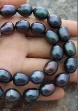 BEAUTIFUL 9-10MM NATURAL SOUTH SEA BAROQUE BLACK PEARL NECKLACE 18""