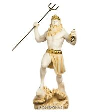 Poseidon Greek God of The Sea with Trident Statue Figurine Gold Alabaster 13""