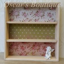 Shabby Chic Vintage Style Wall Display Cabinet Shelf Unit Wooden White Pink