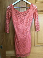 Coral Pink Lace Long Sleeve Bodycon Mini Dress