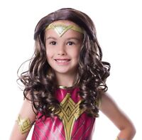 Wonder Woman Wig Justice League Fancy Dress Halloween Child Costume Accessory
