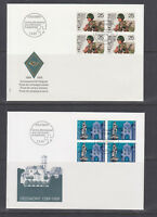 Switzerland Mi 1385/1403, 1989 issues, 5 complete sets in blocks of 4 on 15 FDCs