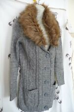 BNWT UK SIZE 12 GREY FLEC CARDIGAN WITH REMOVABLE FAUX FUR COLLAR by TG NEW TAGS