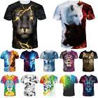 Wolf Tiger 3D Print Fashion Womens Mens Casual T Shirt Short Sleeve Graphic Tee