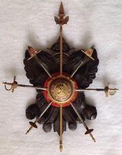 Vintage Crossed MINI Swords Wood WALL Plaque Shield Crest TOLEDO SPAIN DAMASCENE
