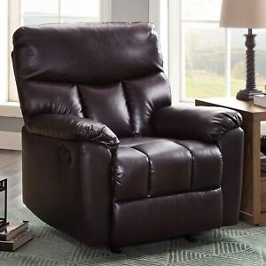 Serta Small Space Rocker Recliner, Chocolate Brown Upholstery