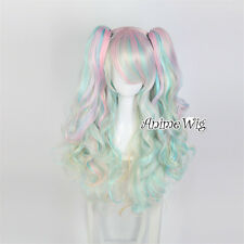 60cm Lolita Halloween Cosplay Multi-colors Heat Resistant Wig + Two Ponytails