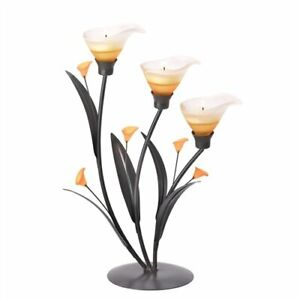Amber Lilies Dark Metal Tealight Candle Holder