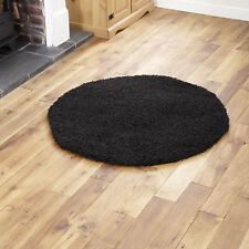 Large Modern Thick 5cm High Pile Plain Black Shaggy Circle Round Rug 133 X 133cm