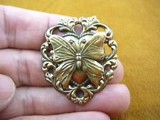 b-but-51) little Butterfly flying insect on scrolled heart pin brooch love lover