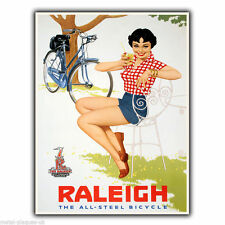 Raleigh Bicycles Bikes Vintage Retro poster art print nostalgic kitsch picture