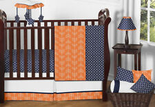 Unique Luxury Unisex Navy Orange Arrow Bumperless Baby Boy Girl Crib Bedding Set