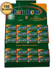 RAINBOW SUPER STAINLESS DE SAFETY RAZOR BLADES 20 packs of 5, 100 blades total