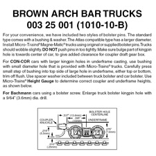 Micro-Trains 00325001 - Arch Bar Trucks With Short Extension Couplers - Brown...