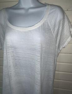 NWOT Athleta Illuminate Tee Sz LARGE Knit White Burnout Stripe T-Shirt