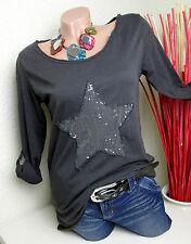 Cooles BASIC Longsleeve Shirt mit Stern hinten länger Gr. 38 40 viele Farben