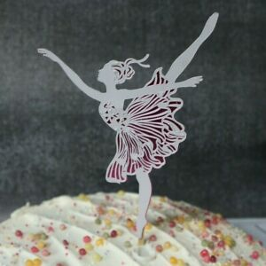 Ballerina Cake Topper Hand Made Lace Detail on Mirror Card