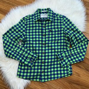 Abercrombie Kids Boys Youth Large Muscle Cut Long Sleeve Plaid Button Down Shirt
