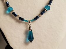 Blue & Silver Tone Glass Bead Necklace w/Blue Glass Crystal Pendant - Jewelry