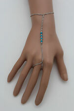 Women Silver Metal Hand Chain Wrist Bracelet Slave Ring Turquoise Blue Beads