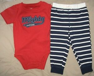 MIGHTY HANDSOME-CARTER'S RED*BLUE & WHITE STRIPED OUTFIT-SIZE 18 MONTHS-NWT