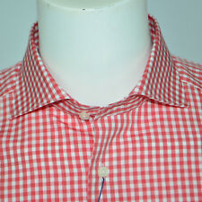 NWT SUITSUPPLY Slim Fit Two Ply Cotton Red Gingham Check Dress Shirt 16.5 38/39