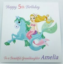 Personalised Mermaid Birthday Card - Granddaugher Daughter 3rd 4th 5th Any Age