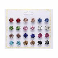 Fashion 12Pair Earrings Colorful Rhinestone Crystal Ear Stud Earring Set Jewelry