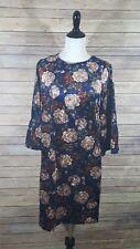 NWT ALISON ANDREWS WOMENS L FLORAL CRUSHED-VELVET Smock Romantic DRESS Bell