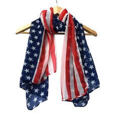 Women Fashion Soft Silk Chiffon American Flag Printed Shawl Wrap Scarf Scarves