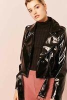 Forever 21 Faux Patent Leather Moto Jacket, Waist Belt, Zipper Pockets NWNT (M)
