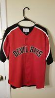 Vtg Starter Devil Rays Jersey Shirt Red Black Rare Tampa Bay L Baseball MLB