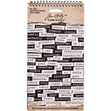 Tim Holtz idea-ology BIG CHAT Spiral Bound Word Stickers Black & White