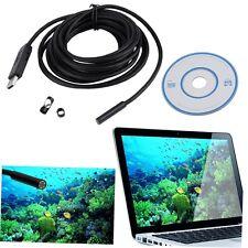 7mm 6 LED USB Waterproof Endoscope Borescope Tube Inspection Video Camera 5M GO