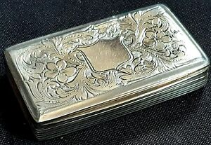 Lovely William IV Sterling Silver Snuff Box, Francis Clark, Birmingham 1838