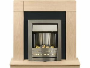 "Adam Malmo Fireplace Suite Oak + Helios Electric Fire Brushed Steel, 39"""