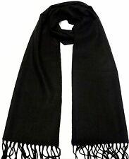 100% cashmere super soft, unisex scarf neck warmer design color solid black