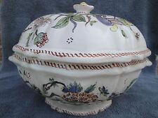 Ancien légumier soupière en faïence de ROUEN décor à la corne d'abondance XVIIIè