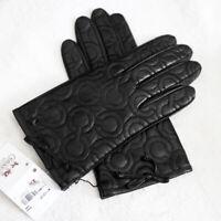 NWT COACH 82043 OP Art Signature Black Soft Leather Gloves Sz 6.5 NEW $128