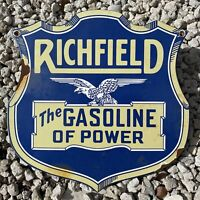 VINTAGE PORCELAIN SIGN RICHFIELD GASOLINE AMERICAN EAGLE POWER OIL GAS STATION