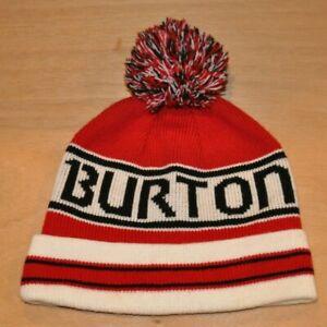 BURTON Winter Hat Pom - Red White Black - Unisex Ski Skiing Snow