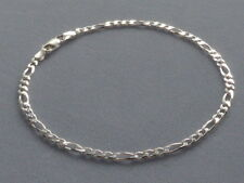 "10""- Sterling Silver Ankle Bracelet-Figaro -3mm-080- Made In Italy -925"