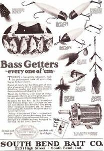 1923 Vintage ad South Bend Fishing Tackle Bass Getters!
