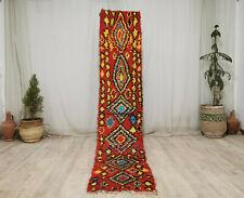 "Moroccan Vintage Handmade Tribal Runner 2'x9'5"" Geometric Berber Red Yellow Rug"