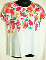 women's joules colorful top size US 16 short sleeves 100% cotton scoop neckline