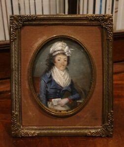 18th.Century Georgian Portrait Miniature Painting French 2 Restore 1800s Lady