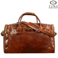 ITALIAN LEATHER  HOLDALL DUFFEL MENS BAG BROWN TRAVEL LUGGAGE LARGE GENUINE NEW