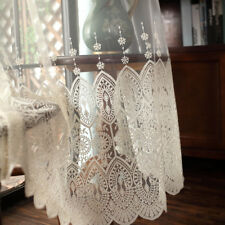 Elegant Beige Lace Embroidery Sheer Curtain Voile Shiny Home Window Tulle Drape